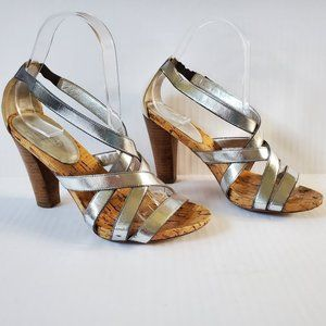 Coach Angel Silver Strappy Leather Sandals 6.5